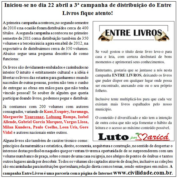 3a. Edição do  ENTRE LIVROS começou ontem (22 de abril)